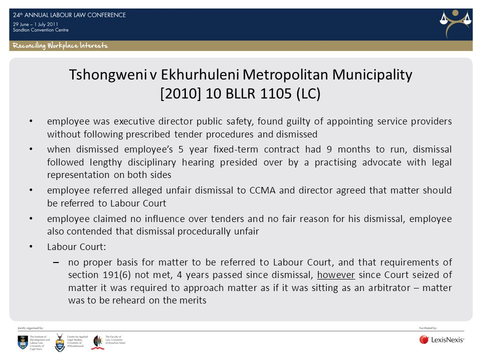 Tshongweni v Ekhurhuleni Metropolitan Municipality [2010] 10 BLLR 1105 (LC)